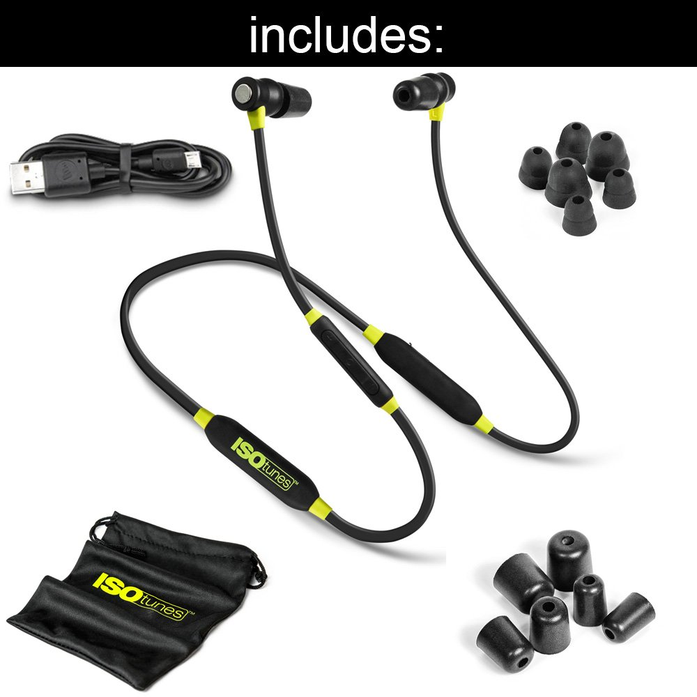 8 Hour Battery OSHA Compliant Bluetooth Hearing Protector 27 dB Noise Reduction Rating All Black ISOtunes Xtra Bluetooth Earplug Headphones Noise Cancelling Mic