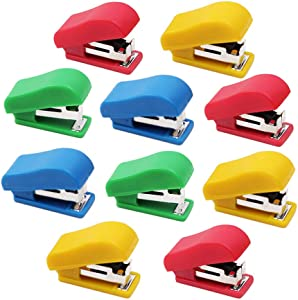 10 Set Mini Office Stapler with 10# Staples, Small Hand Stapler Portable Desktop Stapler Student Stapler