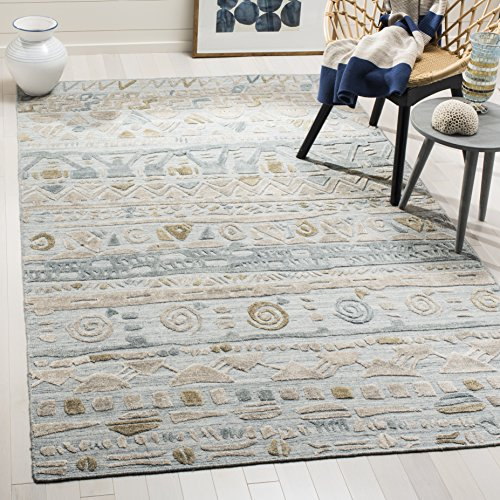 Safavieh ELM181M-6 Elements Collection Light Blue and Beige Area Rug, 6' x 9', ()