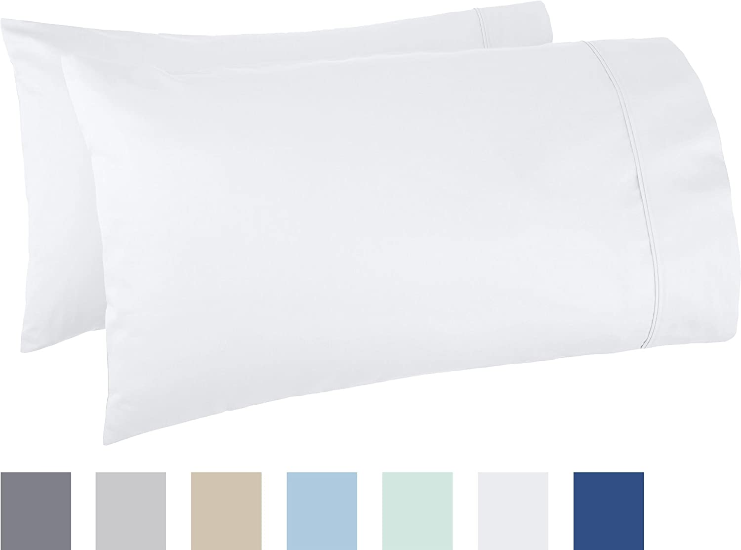 AmazonBasics 400 Thread Count Pillow Cases - Standard, Set of 2, White