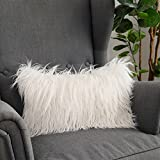 LANANAS Luxury Soft Plush Faux Fur Throw Pillow Covers for Couch Decorative Mongolian Fur Throw Pillow Covers (12