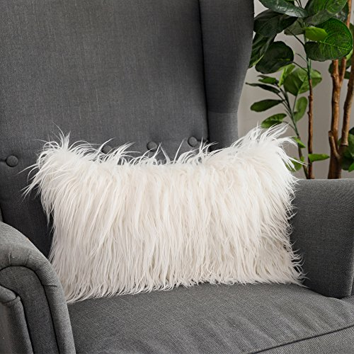 LANANAS Luxury Soft Plush Faux Fur Throw Pillow Covers for Couch Decorative Mongolian Fur Throw Pillow Covers (12''X20'', Off-White) (White Pillow Shag)