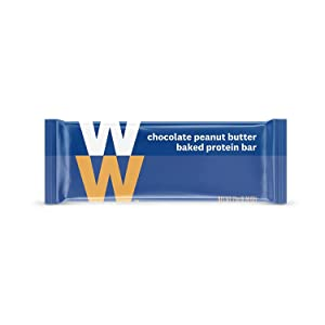 WW Chocolate Peanut Butter Baked Protein Bar - High Protein Snack Bar, 3 SmartPoints - 1 Box (24 Count Total) - Weight Watchers Reimagined