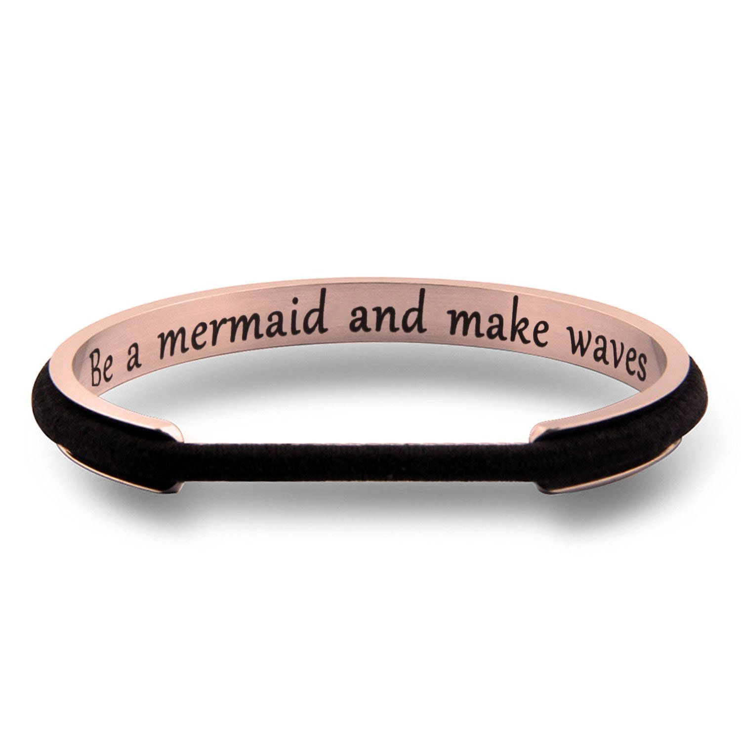 WUSUANED Be A Mermaid And Make Waves Hair Tie Grooved Cuff Bangle Bracelet Inspirational Gift For Her (be a mermaid RG)