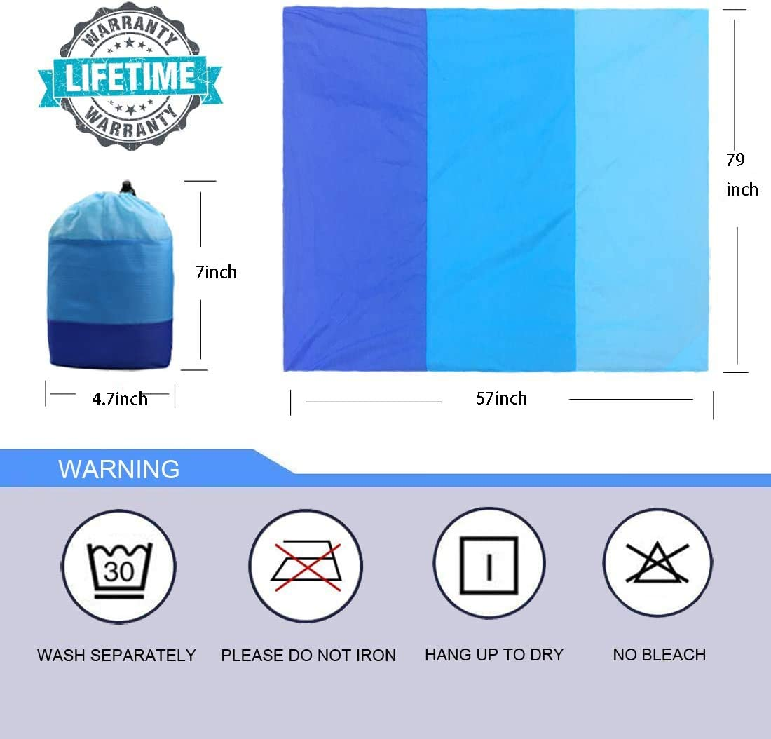 MEQUER Sand Free Beach Blanket Portable Waterproof Lightweight Beach Blanket 57 x 79 with 4 Fixed Nails Hiking Quick Dry Mat for Travelling Camping