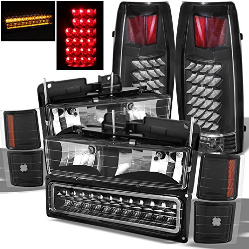 (Xtune for 1994-1999 Chevy Tahoe Suburban Black Headlights LED Bumper + LED Tail Lights 1995 1996 1997 1998)