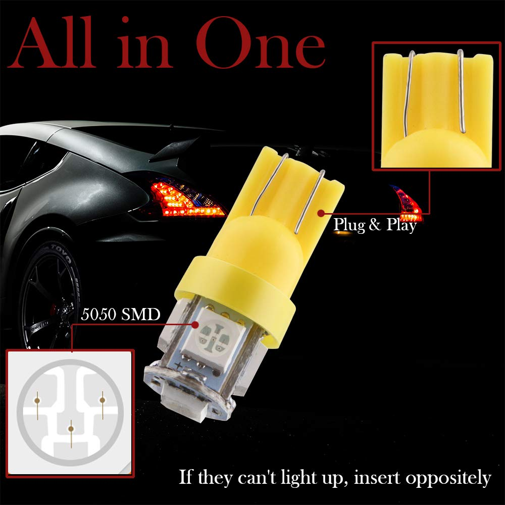 12 V Grandview 10-Pack T10 501 LED Bulbs W5W 194 168 Red 5-SMD 5050 LED Car Interior,Dashboard,Number Plate,Sidelights Boot Light Bulbs