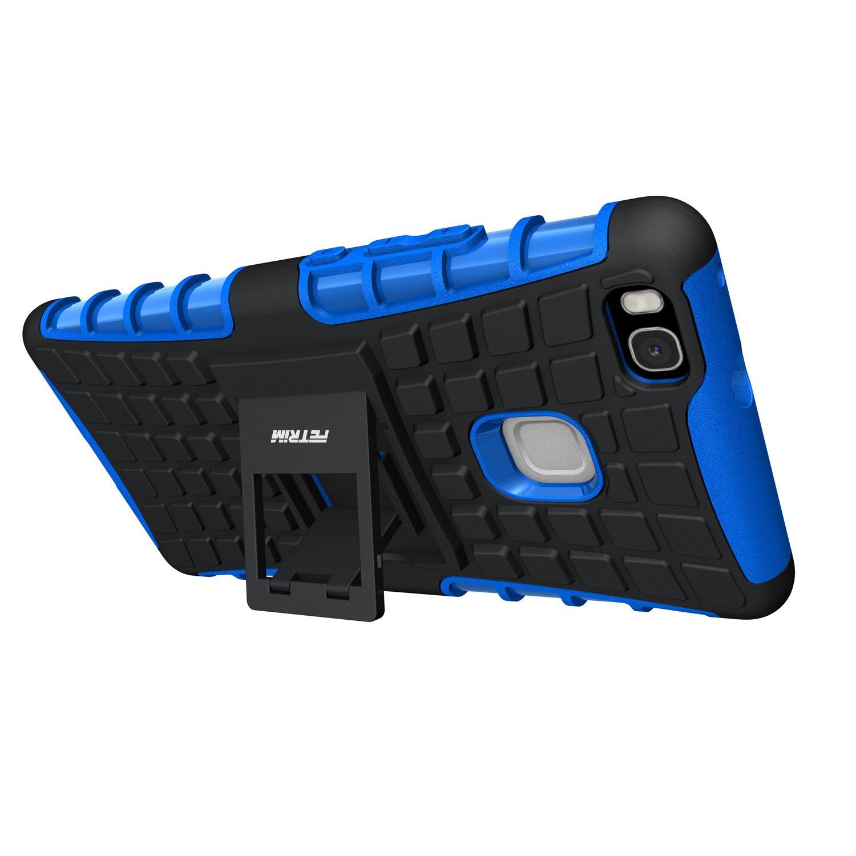 Protettiva Stand Case,Shock-Absorption Bumper Rugged Armor super protettiva Case per Huawei P9 Lite Blu Custodia Huawei P9 Lite,Fetrim Cover Huawei P9 Lite