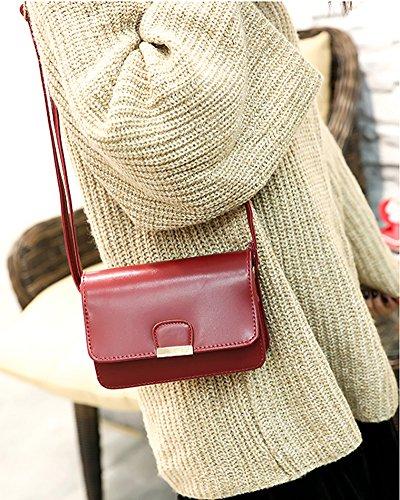 Messenger Bandoulière Pure Fourre Femme Petit Minetom Mini Vintage Couleur à Fille Cuir Chic Mode Sacs Sac Sac Crossbody Pochette Rouge à Main PU HI6q76fx