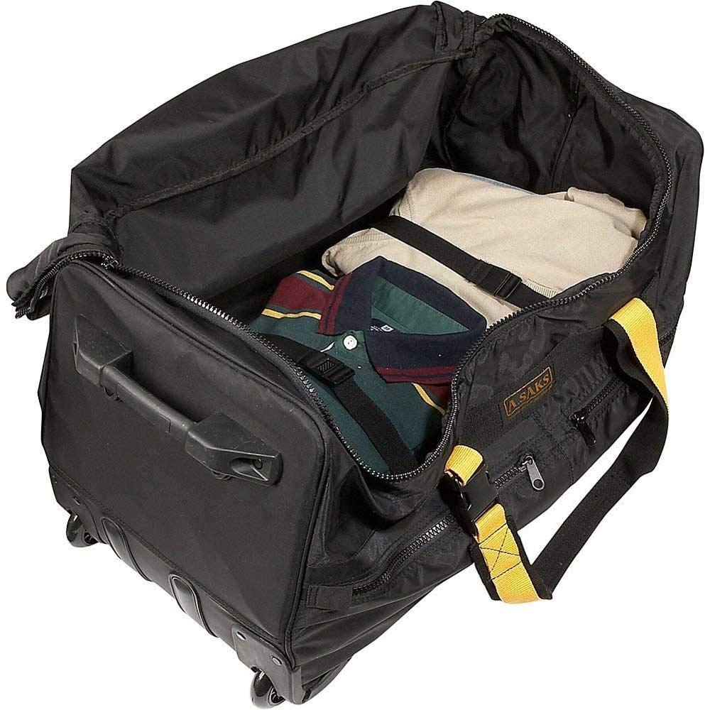 A.Saks Expandable 25in.Nylon Wheeled Duffel in Black
