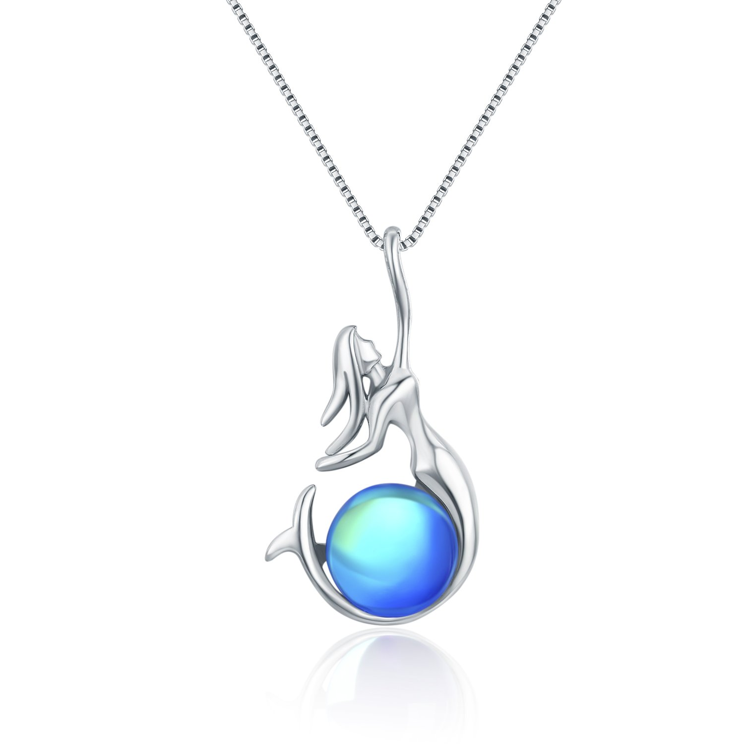 Wristchie Womens Fashion Jewelry 925 Sterling Silver Freshwater Cultured Pearl Mermaid Pendant Necklace 18+2'' (Blue)