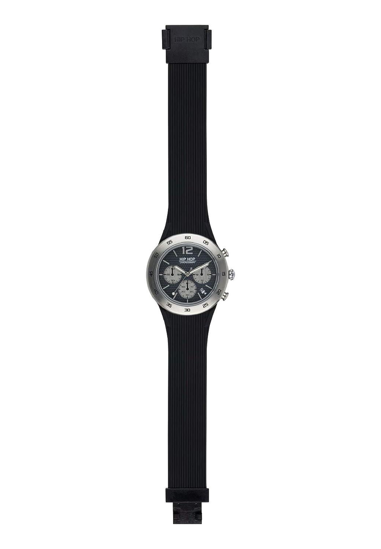 Armbandsur HIP HOP man metall kvadrat svart e klockarmband i silizium, metall svart, fabrik Chrono QUARZUHR Klockarmband: svart, urtavla: svart