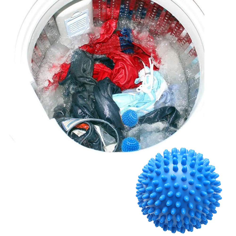 Ouken 2 Pcs No Chemicals Washing Helper Reusable Washer Laundry Dryer Balls Fabric Cloth Softener Reduce Drying Time and Save on Energy Blue