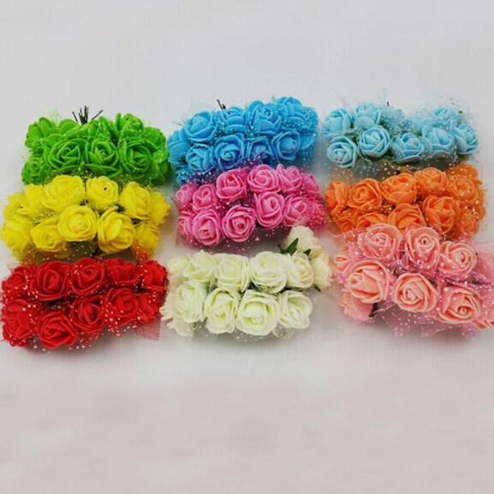 Mariage Free Size Rose Bouquet WOOPOWER Lot de 144 Petites Roses en Mousse Artificielle de 2,5 cm pour travaux manuels d/écoration d/'int/érieur