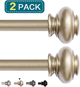 Window Treatment Drapery Rods Curtain Rod Set With Decrative Designed Style Finial, 3/4 inch Diameter Length 28 to 48 Inch, Gold Finish, 2 Pack
