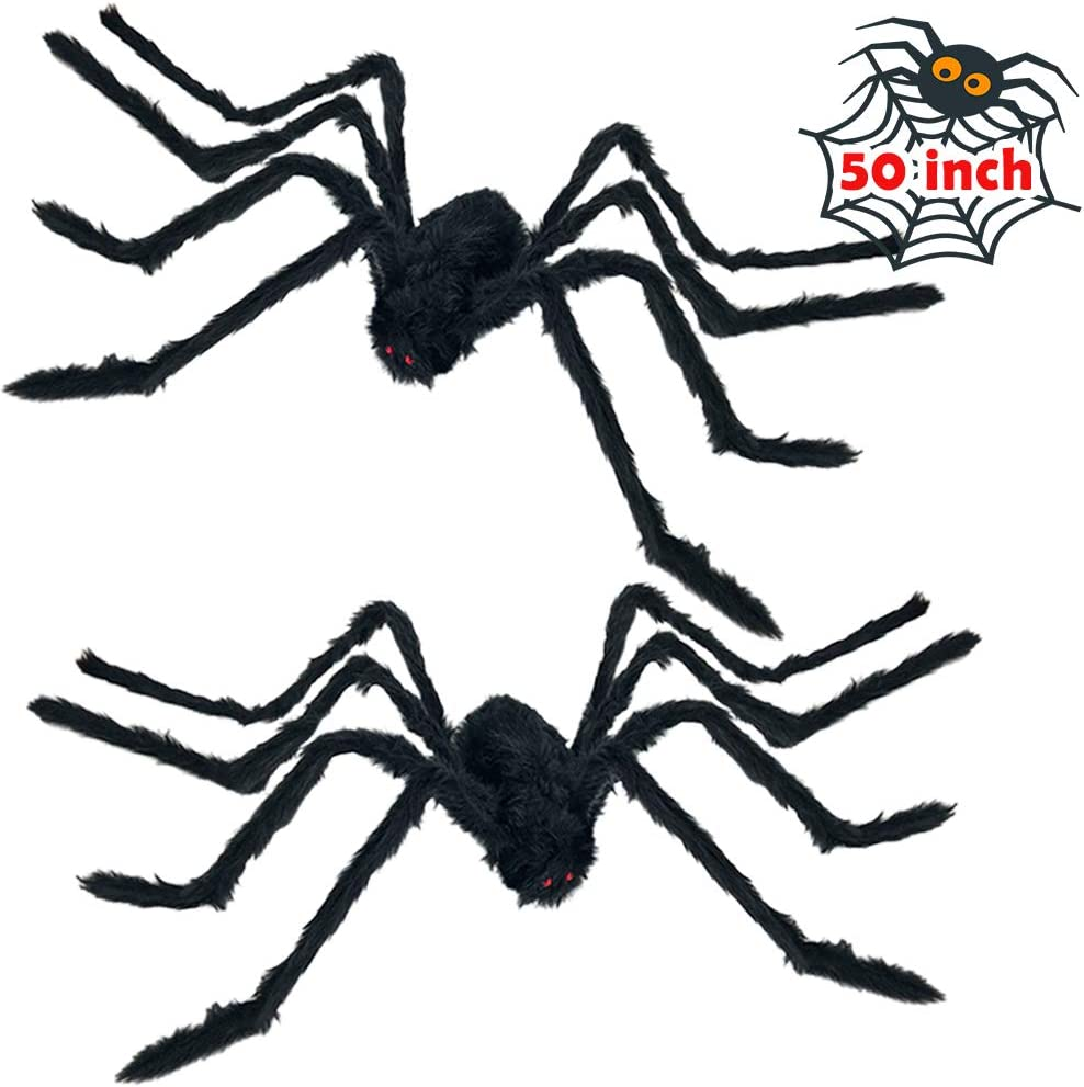 Heyzeibo Halloween Decorations Props Spider, 2 Packs Halloween Scary Giant Spider, Cobwebs for Window Wall and Yard Outdoor Halloween Party Decor, Black Decor & Spooky Entertainment