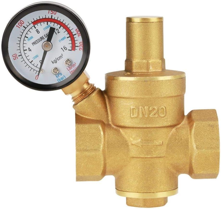 KXA DN20 Brass Adjustable Water Pressure Regulator Reducer with Gauge Meter