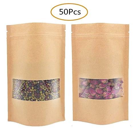 Amazon.com: SUMAJU - 50 bolsas de papel Kraft con cierre de ...