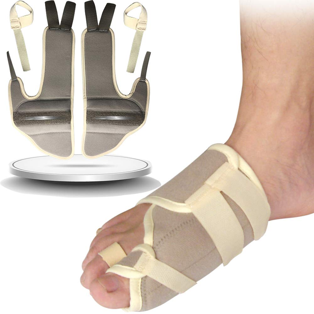 1 Pair Hallux Valgus Night Splint,Bunion Straightener Corrector Big Toe Splint Brace,Bunion Relief Protector with Steel Stabilizer Bar,Addintional Loop Strap for Other Hammer Toe,Mallet Toe,Claw Toe