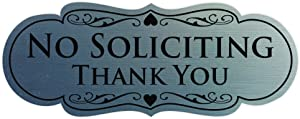All Quality Designer NO Soliciting Thank You Sign - Silver Medium