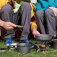 NATRUSS Olla de Picnic de aleación de Aluminio para Acampar al Aire Libre, Olla de Cocina para 1-2 Personas, Plegable al…