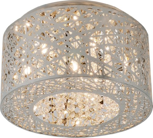 ET2 E21300-10PC, Inca Round Crystal Flush Mount Lighting, 7 Light, 280 Total Watts Xenon, Chrome