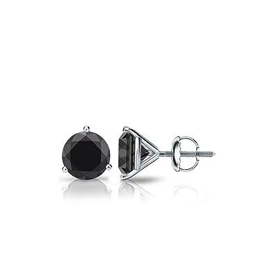 f35adda8a Diamond Wish Men's Solitaire Black Diamond Stud Earrings (1 carat TW) 3  Prong Martini