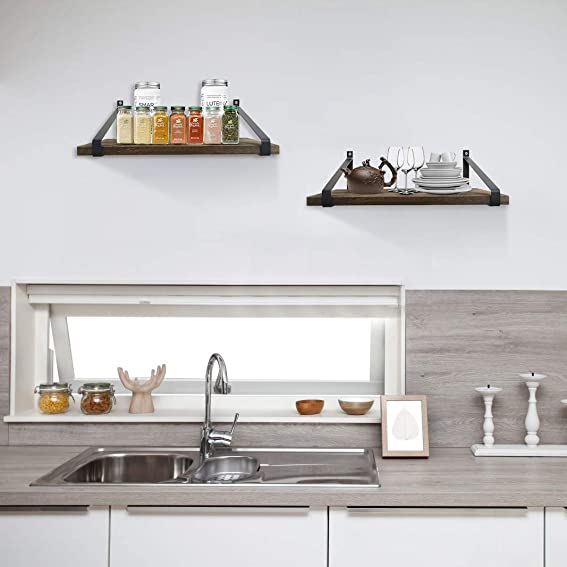 Urban Deco Floating Shelves Wall Mounted Rustic Wood Wall Shelve