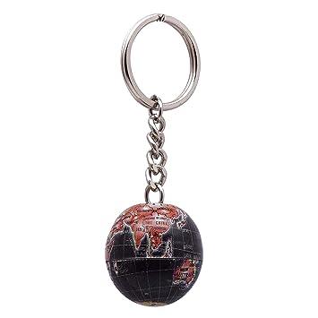 Amazon.com: Globo Diseño metal Llavero hule Keyfob Llavero ...
