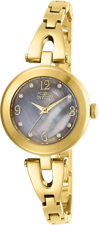 Invicta Women's Angel Gold-Tone Steel Bracelet & Case Quartz Grey Dial Analog Watch 29333