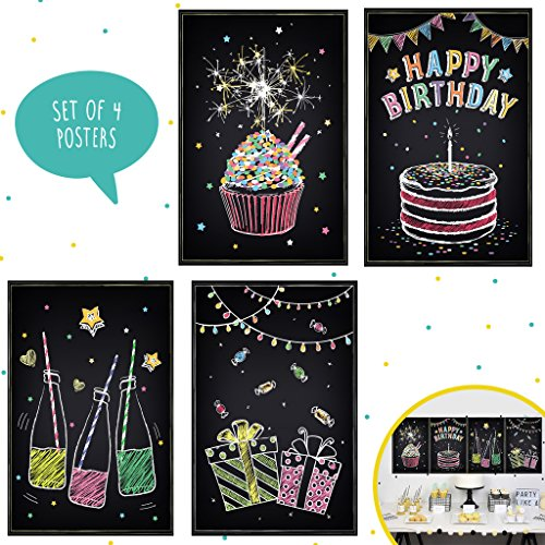 Set of Four 11X17 Happy Birthday Wall Decor,