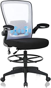 Drafting Chair Tall Office Chair Ergonomic Computer Desk Mid Back Mesh Chair with USB Lumbar Support & Foot Ring Height Adjustable Rolling Swivel Drafting Stool Task Executive Chair for Standing Desk