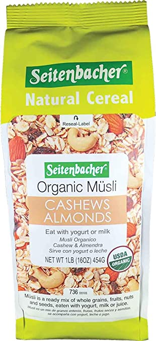 Seitenbacher Organic Muesli Cashews Almonds Natural Cereal, 16 Ounce