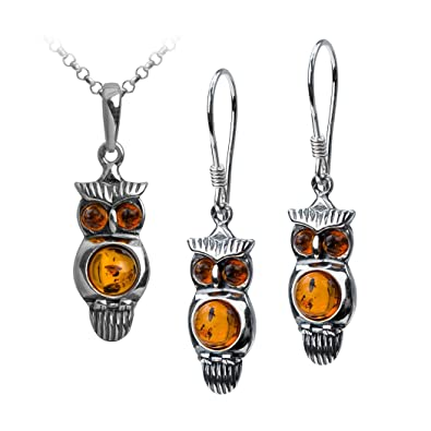 5b87458f45ba05 Image Unavailable. Image not available for. Color: Sterling Silver Amber  Owl Earrings Pendant Set ...