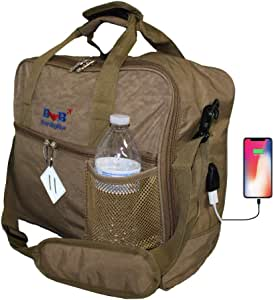 """16"""" Personal item Under Seat Duffel Bag for Allegiant Airlines w USB Port Cable (Beige)"""