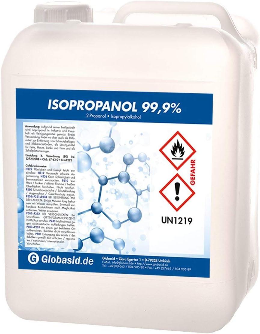 Isopropanol 99 9 10 Liter Isopropylalkohol 2 Propanol Reinigungsmittel Für Haushalt Und Industrie Lösungsmittel Und Fettlöser Lack Und Farb Entferner Nagellack Entferner Oberflächen Reiniger Drogerie Körperpflege