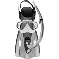 MIRAGE Ezi-Travel Silver Mask Snorkel Fins S/M (FSET-03 SLVSM)