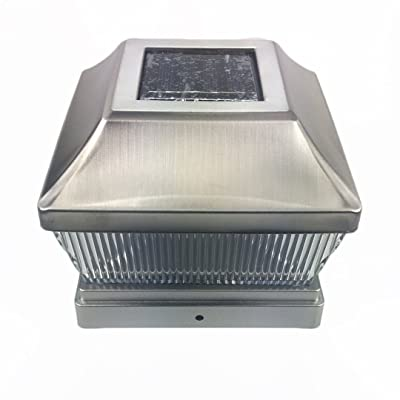 """Silver Metal Plated Solar Post Cap LED Light 5x5 Post Deck Fence Lighting 5""""-Inch"""