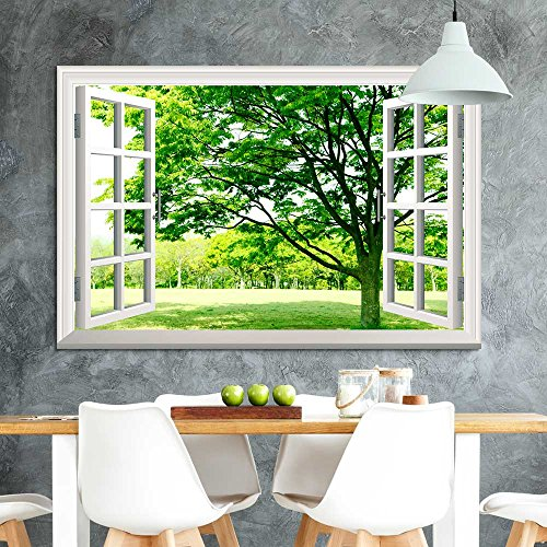 Window Facing a Forest with Green Trees