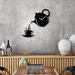 FASHION in THE CITY DIY Patterns Creative Mirror Surface Wall Clocks, Living Room Bedroom Wall Decorative Wall Sticker Watches (Item01-Black)