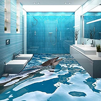 LHDLily Custom 3D Floor Wallpaper Ocean Dolphin Bathroom Floor Painting Wear Non-Slip Thickened 3D Wallpaper Mural 150cmX100cm - - Amazon.com