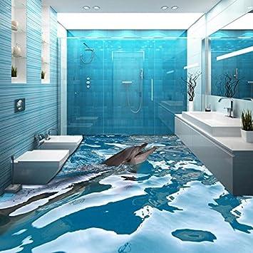 Lhdlily Benutzerdefinierte 3d Boden Tapete Ozean Delphin Badezimmer