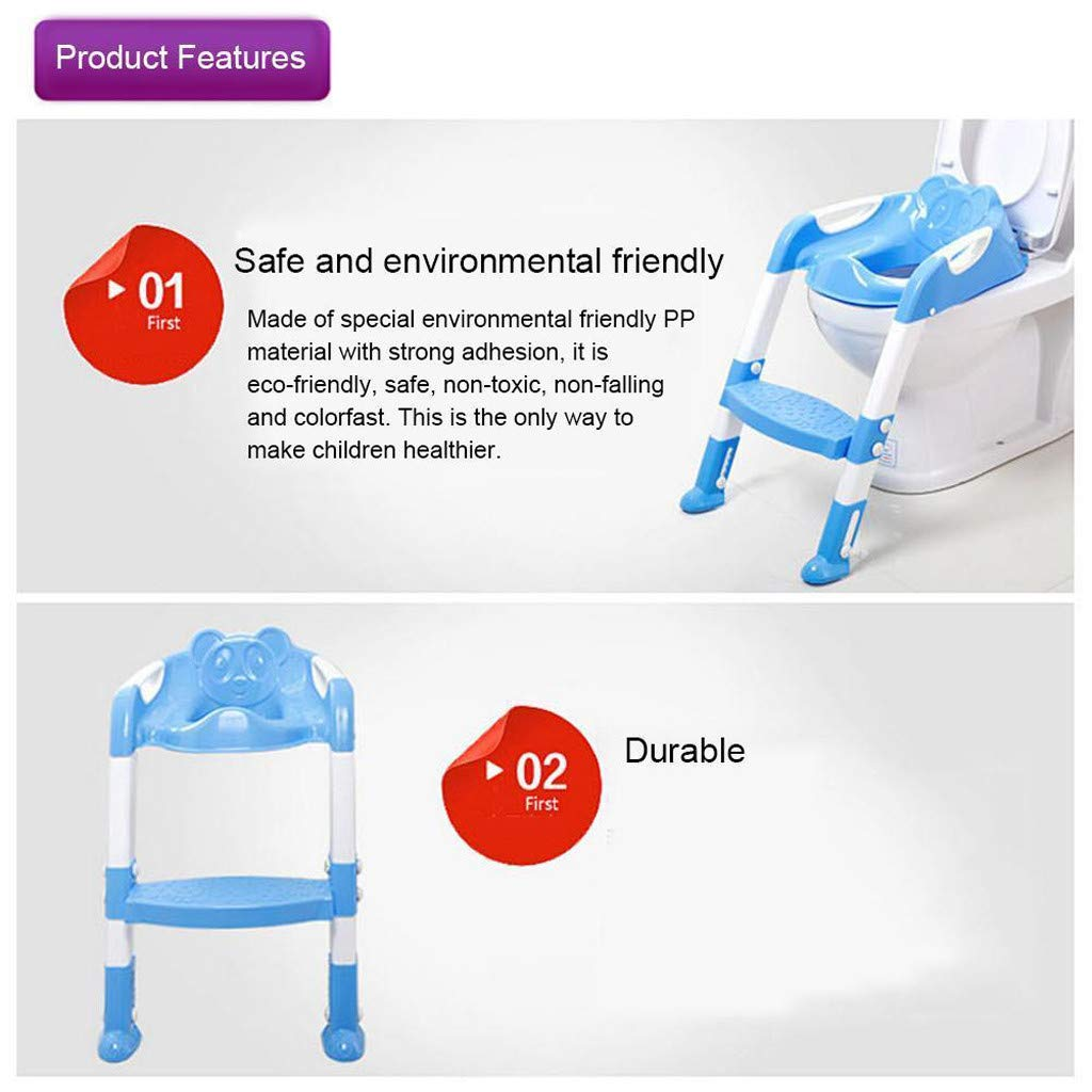 Baby Potty Toilet Training Seat by HP95, Folding Toddlers Bathroom Training Chair Cover for Toilet - Boys & Girls Toilet Training Seat Ladder with Wide Step (A, Blue) by HP95_Baby Supplies (Image #9)