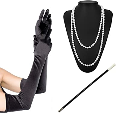 1920s Women Girl Costume Set Fancy Dress Pearl Bead Necklace Long Black Gloves