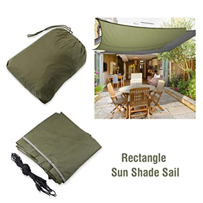 GOTOTOP Sun Shade Sails Rectangle Waterproof Sun Awning Canopy UV Block Garden Awning with Rope Perfect for Patio Outdoor Facility and Activities(Army Green): Sports & Outdoors