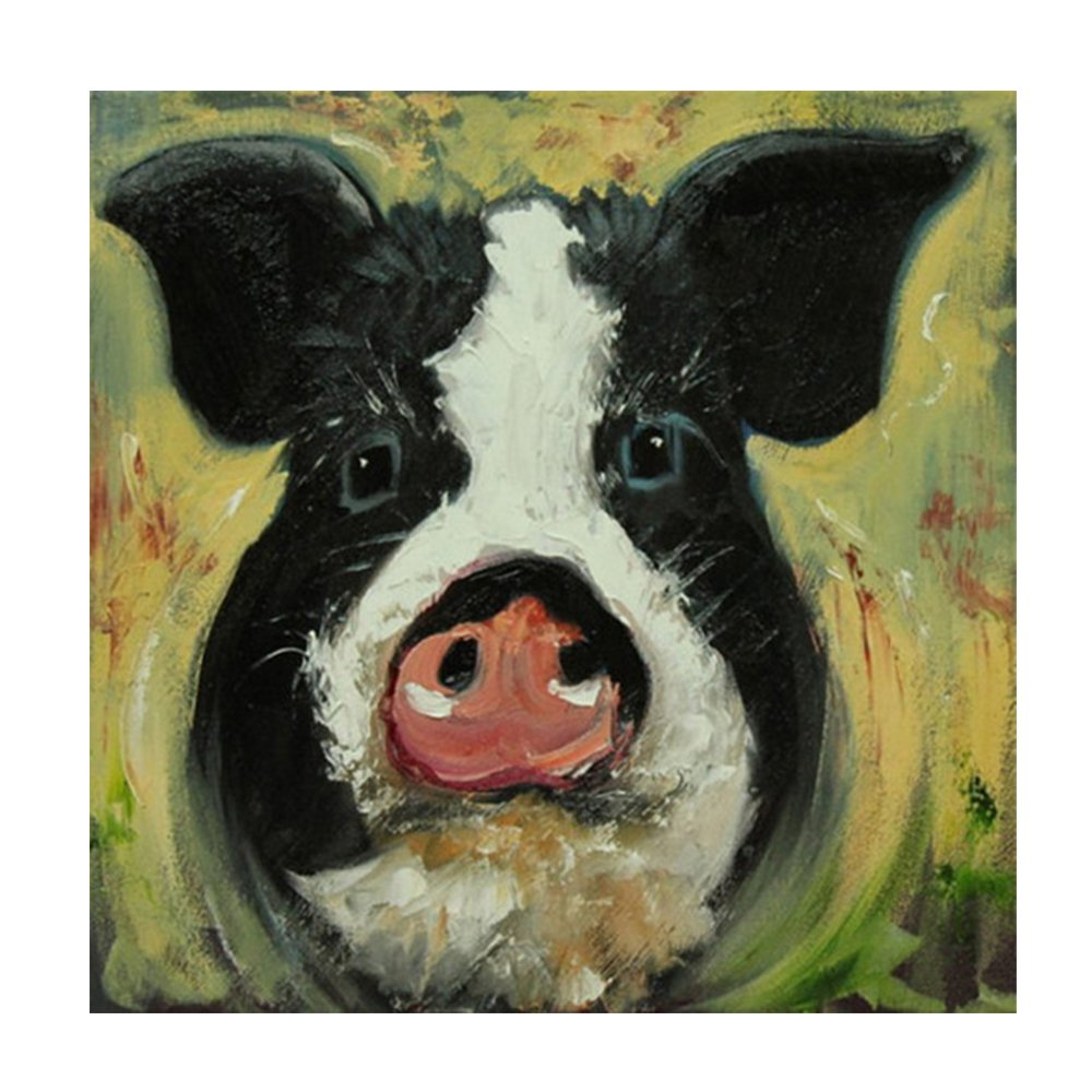 Faicai Art Funny Pig Oil Paintings On Canvas Abstract Hand Painted Animal Paintings Modern Canvas Wall Art Pictures Home Decor for Living Room Bedroom Kitchen Office Farmhouse Ready to Hang 24x24 inch