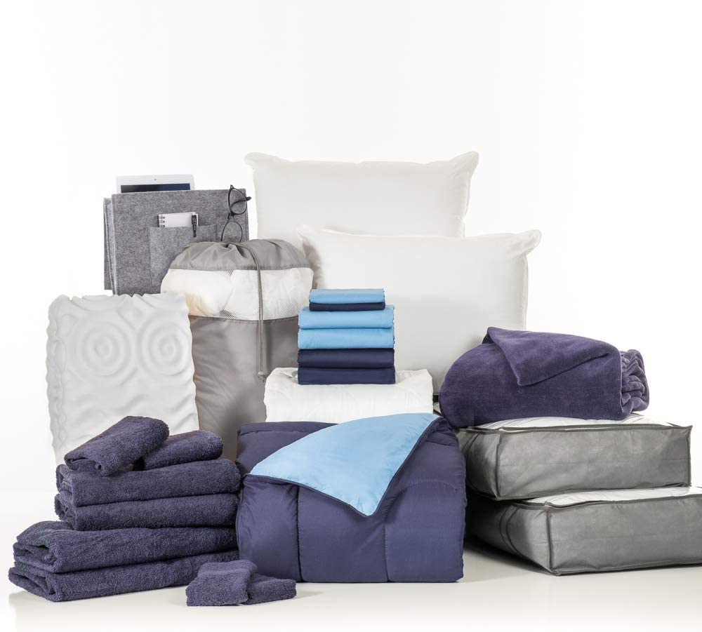 OCM College Dorm Room 24-Piece Complete Campus Pak   Twin XL   with Topper, Comforter, Sheets, Towels, Storage & More   Blue and Navy   Classic Blue Solids
