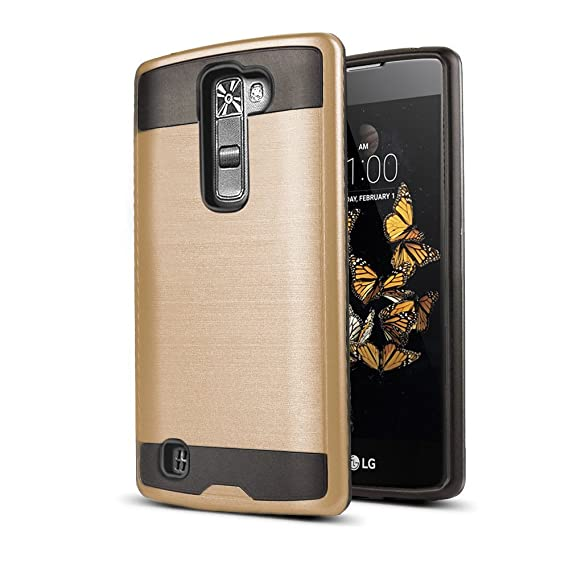 the latest e3111 8c4a9 LG Escape 3 Case, LG Phoenix 2 Case, LG K8 Case, kaesar Slim Fit Brushed  Metal Texture Hybrid Dual Layer Slim Protector Case Cover for LG Escape 3 /  ...