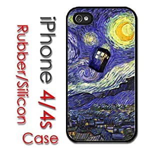 Cool iPhone 4 4S Rubber Silicone Case - Tardis Dr Who Phone Call Box Starry Night