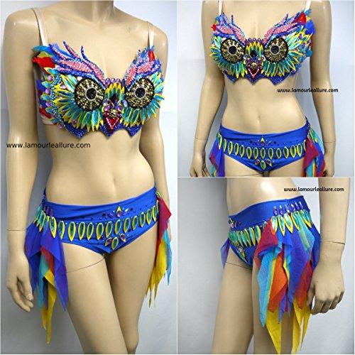 Carnival Spandex Bra (EDC Electric Daisy Carnival Rhinestone Owl Rave Bra and Boyshorts Dance Costume)